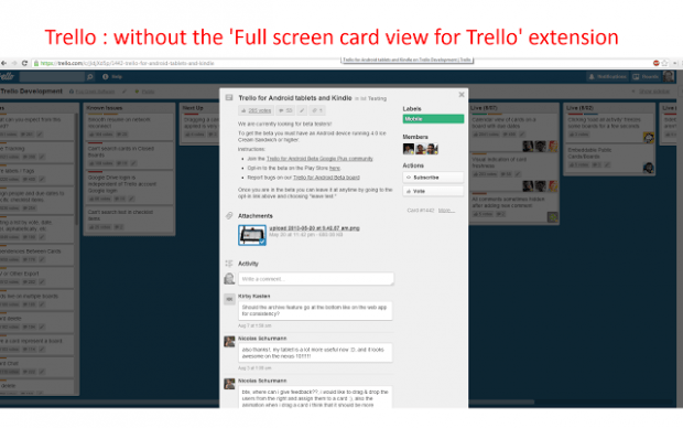 Trello card without full screen view Chrome