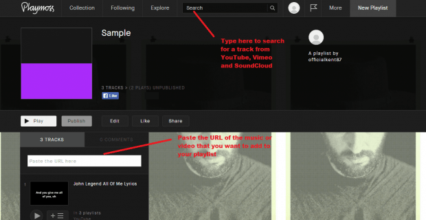 create a playlist with tracks from YT Vimeo SoundCloud b
