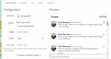 embed Twitter widget in Blogger