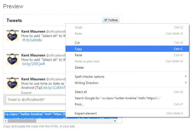 embed Twitter widget in Blogger b