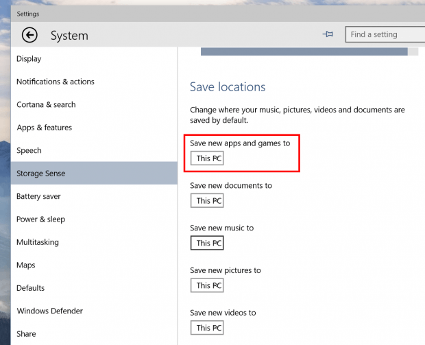 How to set default install location for Store apps in ...