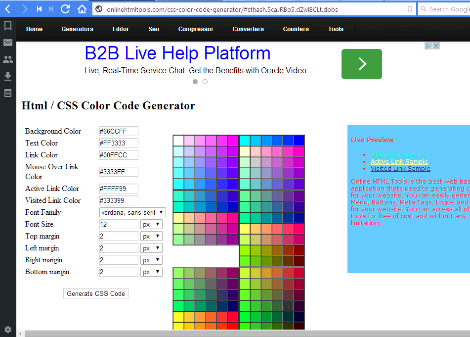 Select Their Text Boxes And Then Choose A Color From The Palette. You Can  Customize The Hyperlink, Active Hyperlink And Visited Hyperlink Colors. CSS  Code3