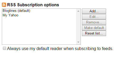 RSS subscribe button Chrome c