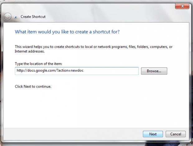 add Google Docs desktop shortcuts Windows b