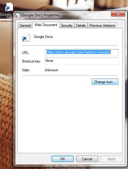 add Google Docs desktop shortcuts Windows e