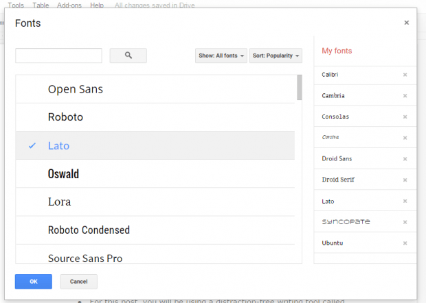 add more fonts to Google Docs b