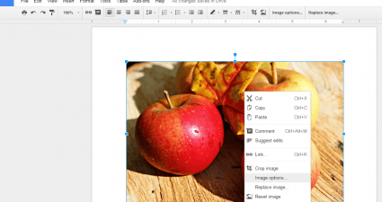 adjust image transparency Google Docs