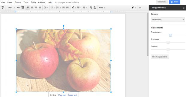 adjust image transparency Google Docs b