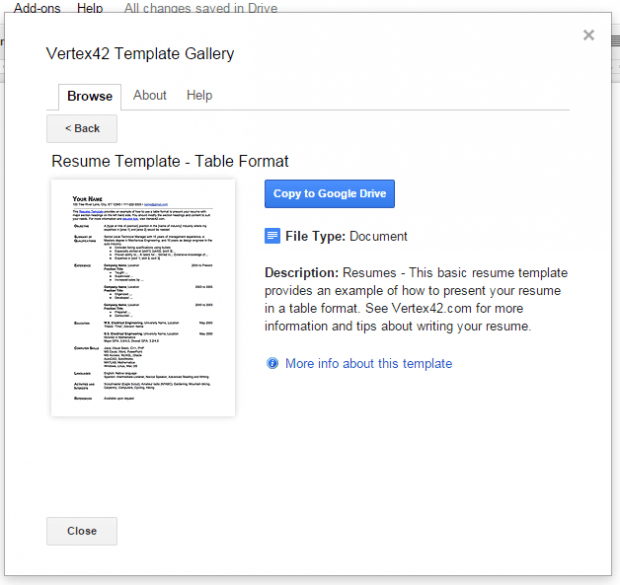 create resume Google Docs e