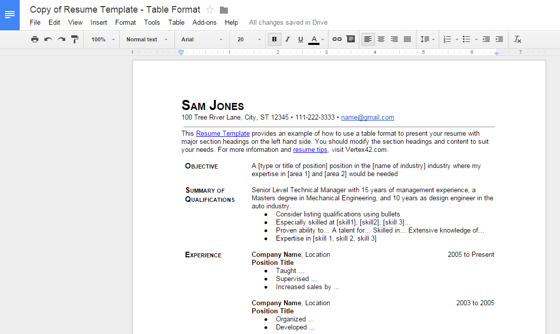 Create Resume Google Docs F