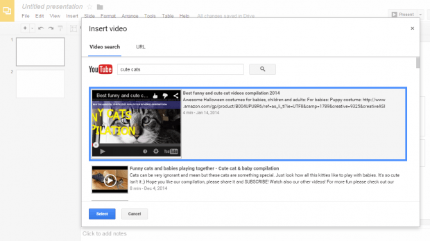 embed YouTube videos on Google Presentations b