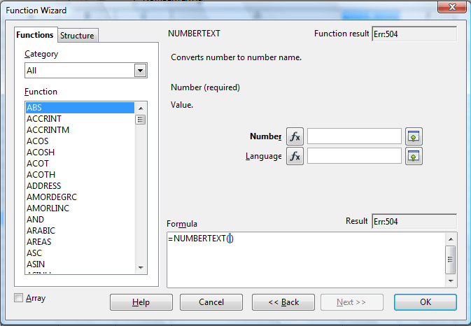 How to convert numbers to text in OpenOffice Calc
