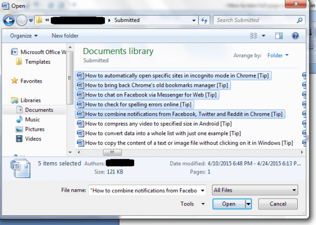 open multiple documents in Word b
