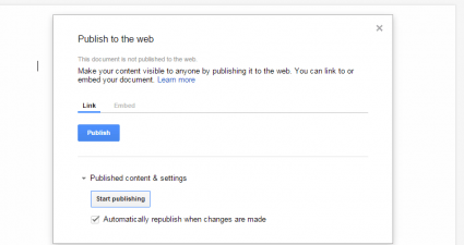 publish unpublish Google Docs document b