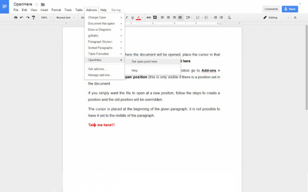 set cursor point Google Docs b