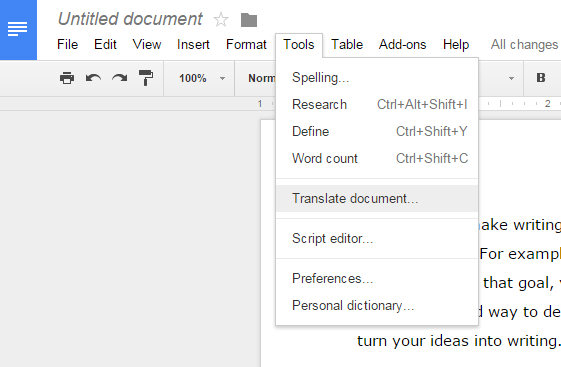 translate document in Google Docs