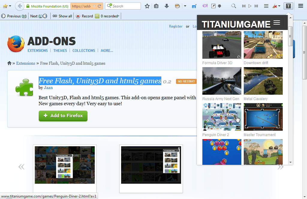 Now click on one of the game thumbnails to open it in the browser. The  shortcuts open the games on the TITANIUMGAME website as shown below.