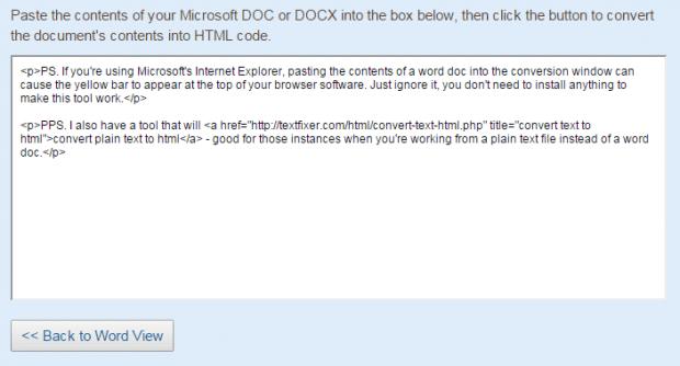 Convert Word to HTML b