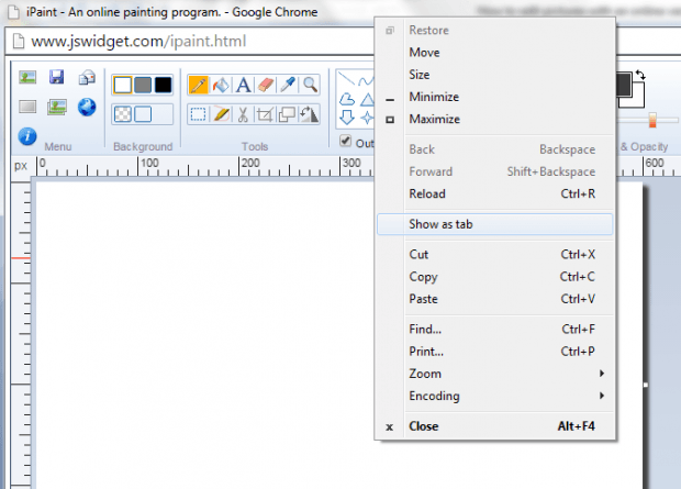 Show iPaint as tab