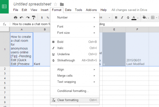 clear formatting in Google Sheets