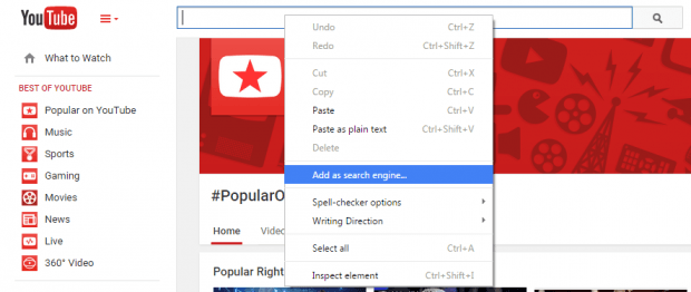 custom search engine Chrome