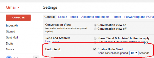 enable undo send option Gmail b