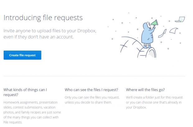 file request Dropbox b