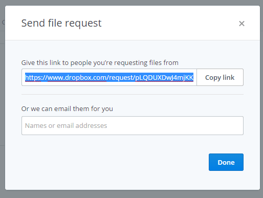 file request Dropbox d