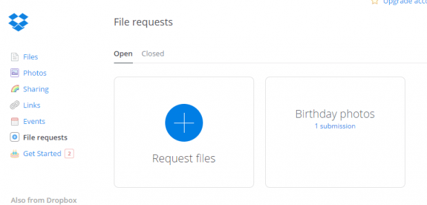 file request Dropbox f