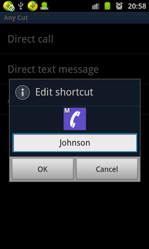 set call shortcut for Skype contact c