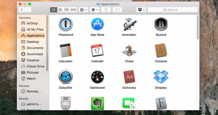 Finder menu Yosemite