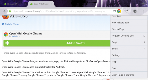 Open Firefox Page with Chrome b