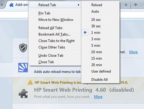Tab Auto Reload Firefox