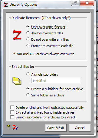 Unziplify Windows Options