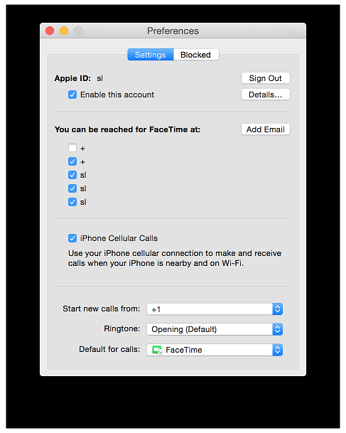YoseMite faceTime Settings