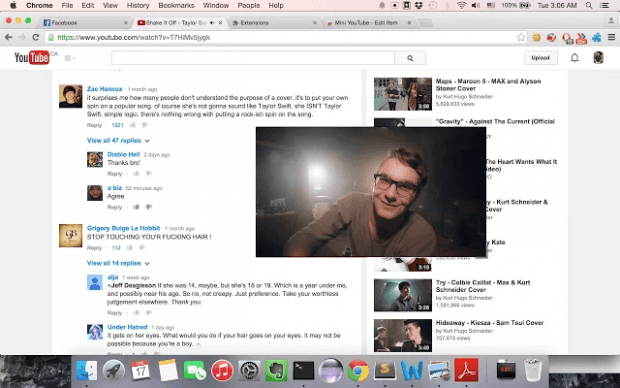 resize floating video YouTube while reading comments b
