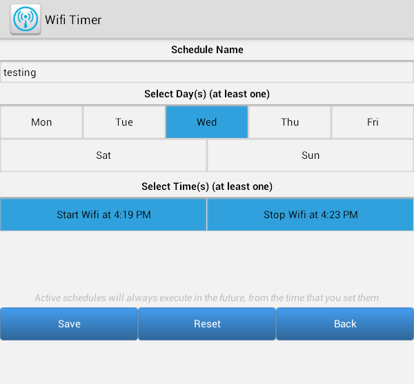 set wi-fi timer Android b