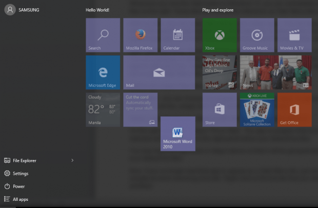 how to add a tile to start menu