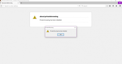disable private browsing Firefox