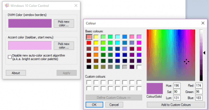 set custom window border color Windows 10 b