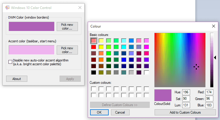 how to set a custom color for window borders in windows 10 tip dottech. Black Bedroom Furniture Sets. Home Design Ideas