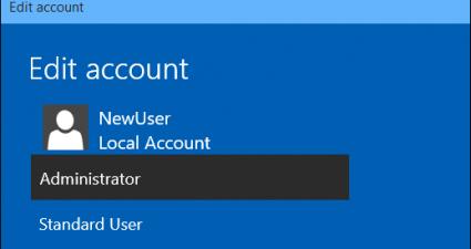 Standard User/Admin Windows 10