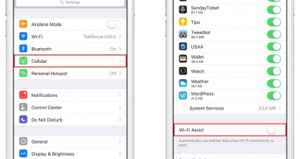iPhone iOS 9 WiFi Assist