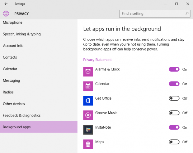 stop apps from running in background Windows 10