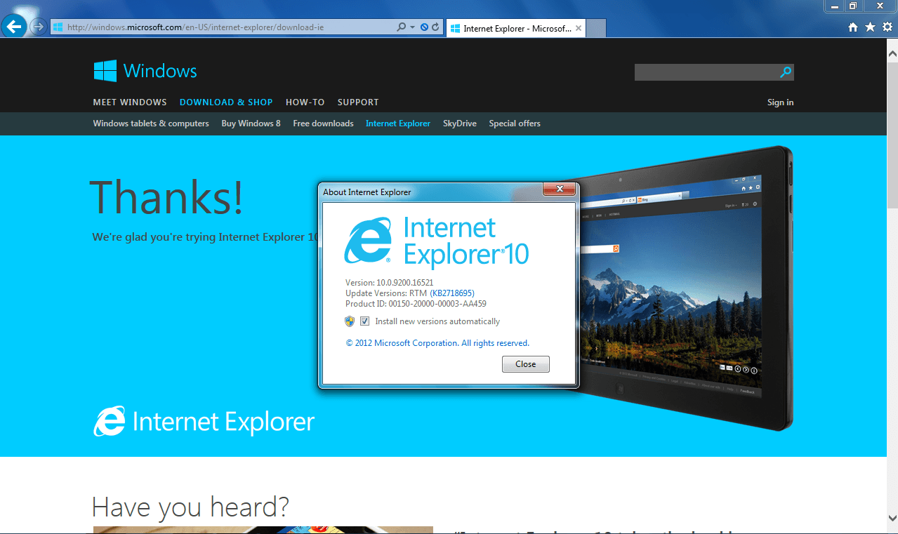 Internet Explorer For Windows 10