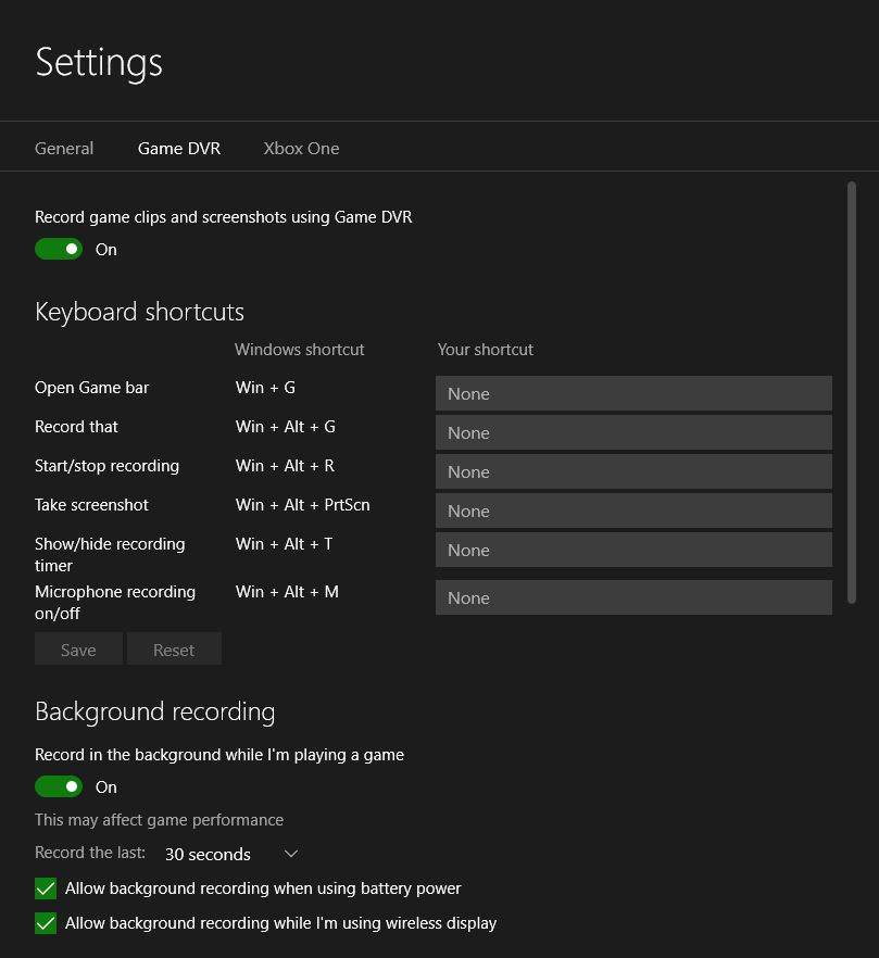 Windows 10 Game DVR Settings 1