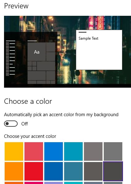 Windows 10 Start Menu Colors