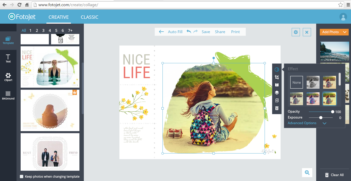 Create beautiful photo collages and cards online with FotoJet [Web