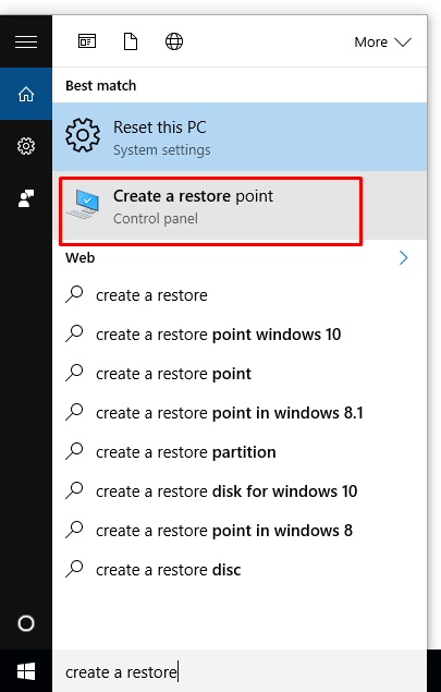 how to create restore point in windows 10
