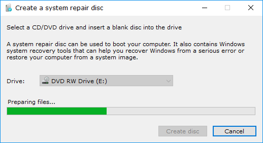 windows 10 create system recovery disc